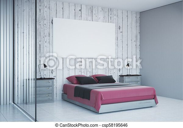 Contemporary white bedroom with empty poster