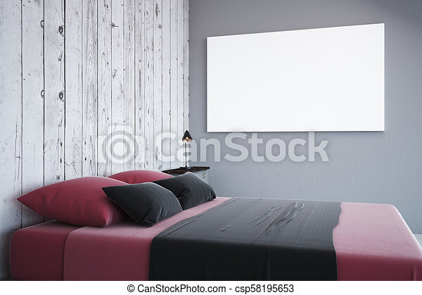 Contemporary white bedroom with empty billboard