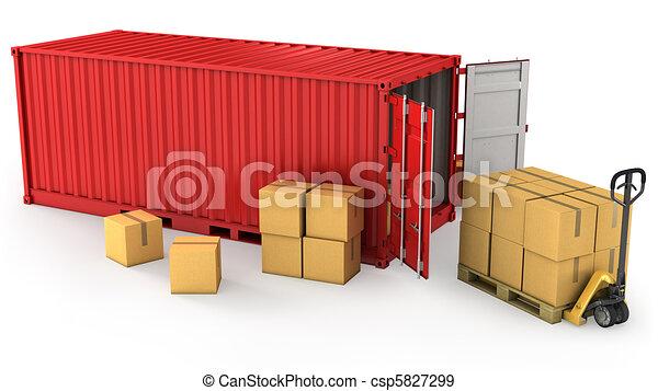 Red abrió el contenedor y muchas cajas de cartón en un palé - csp5827299