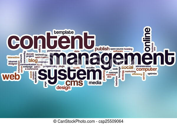 Content management system word cloud with abstract background - csp25509064