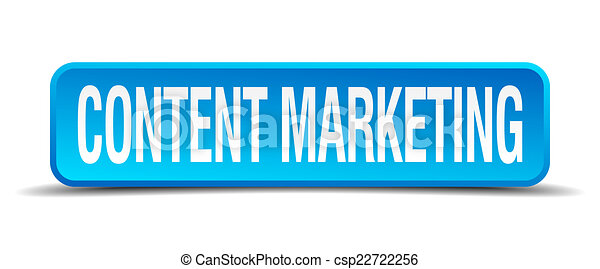 content marketing blue 3d realistic square isolated button - csp22722256