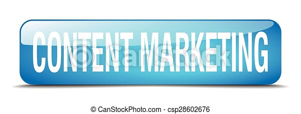 content marketing blue square 3d realistic isolated web button - csp28602676