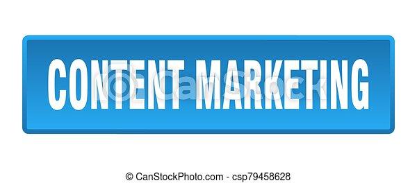 content marketing button. content marketing square blue push button - csp79458628