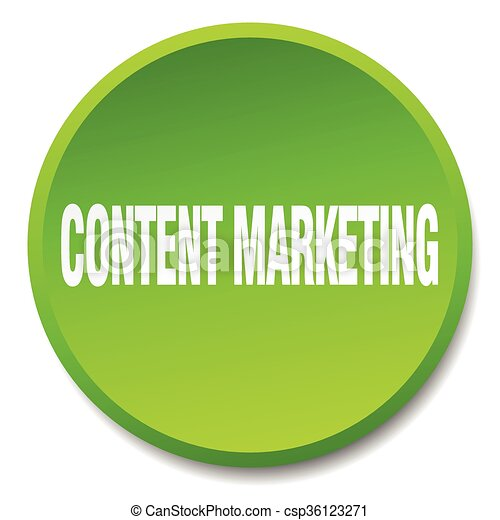 content marketing green round flat isolated push button - csp36123271