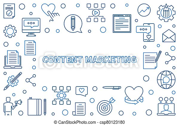Content Marketing vector concept blue thin line frame - csp80123180