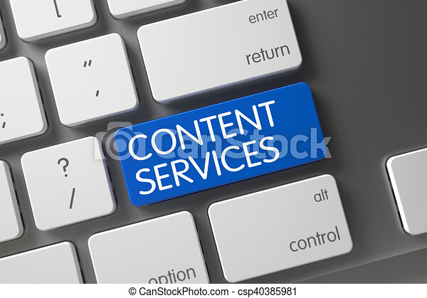 Content Services Close Up of Keyboard. 3D. - csp40385981