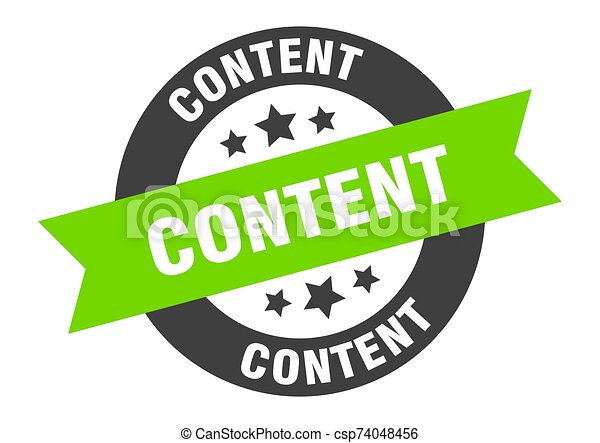 content sign. content black-green round ribbon sticker - csp74048456