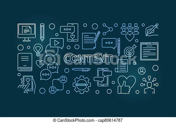 Content vector concept blue linear horizontal illustration - csp80614787