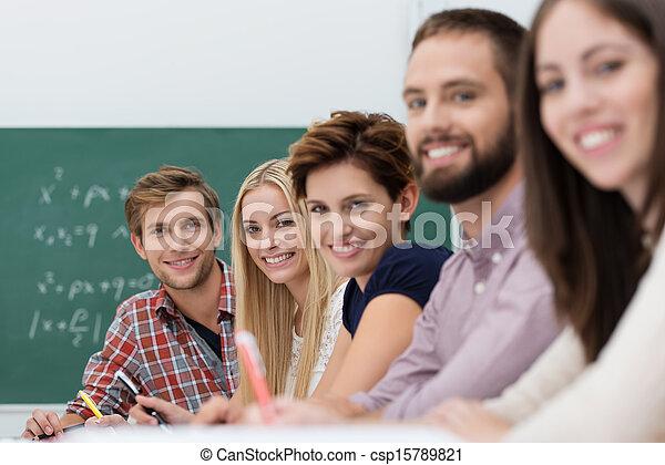 Contented happy university students - csp15789821