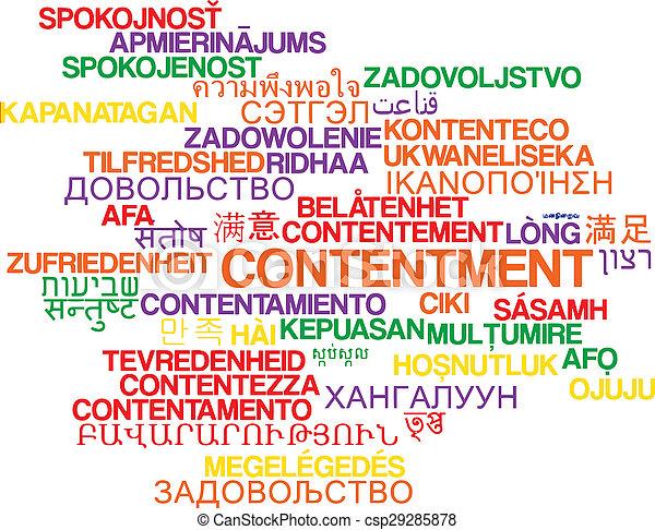 Contentment multilanguage wordcloud background concept - csp29285878