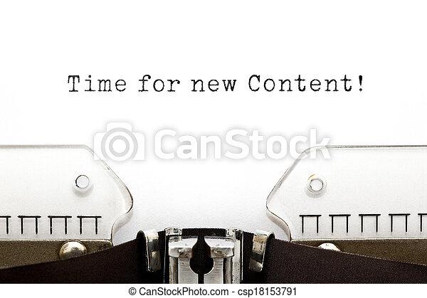 contenu, nouveau, temps, machine écrire - csp18153791