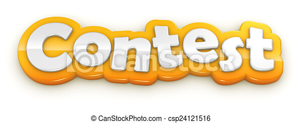 Contest yellow word text on white background - csp24121516
