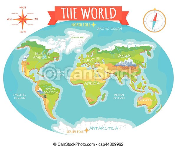 Continents, Oceans on Map of World. Our Planet.