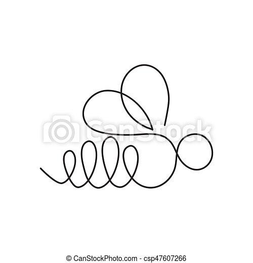 continu, bannière, formulaire, carte, affiche, flyer., moderne, bee., une, insecte, dessin ligne, logo - csp47607266