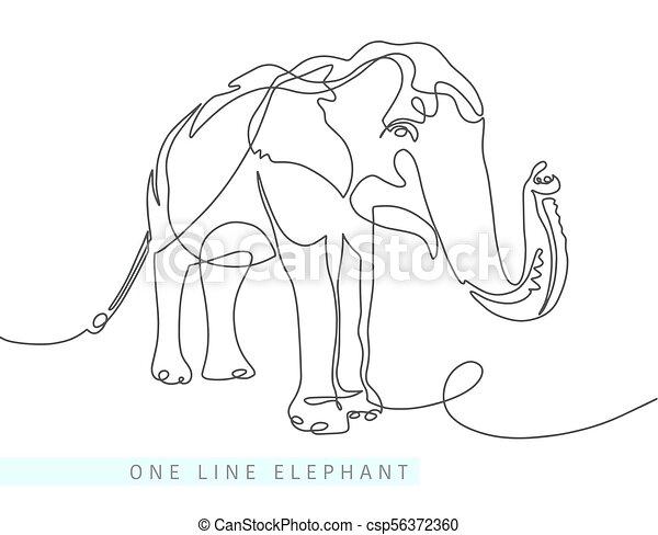 Continuo, uno, elefante indio, dibujo lineal. Moderno, indio, mono ...