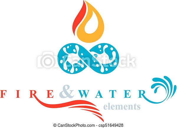 Continuous Harmony Between Water And Fire Nature Elements Vector