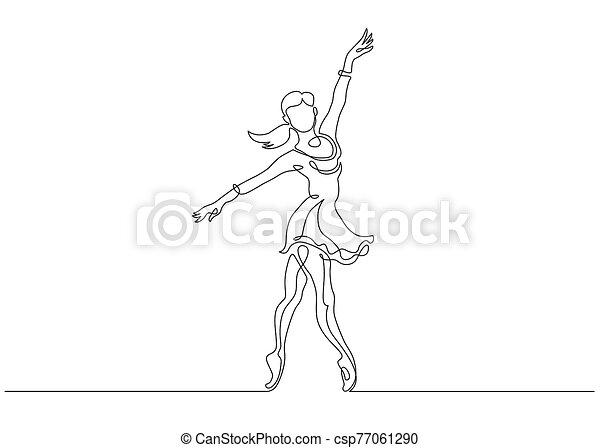 Continuous Line Art Drawing. Ballet Dancer ballerina. Vector Illustration - csp77061290