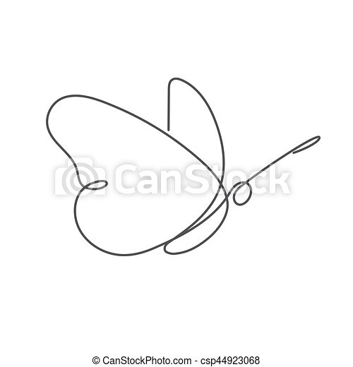 Continuous line butterfly white one line drawing csp44923068