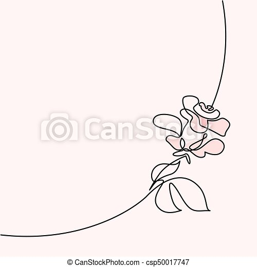 Continuous Line Drawing Of Beautiful Rose Logo Continuous