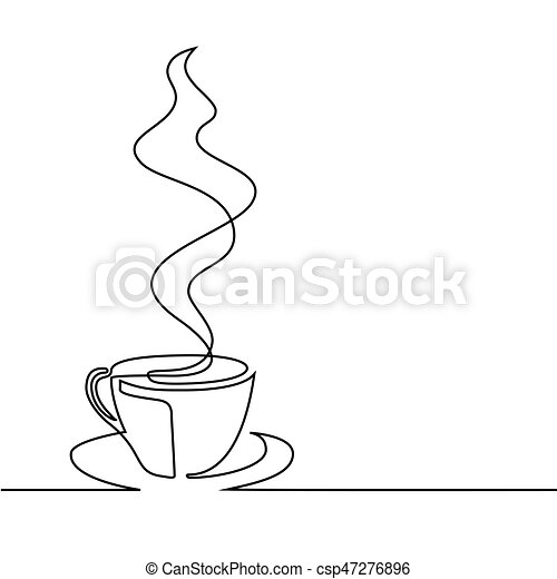 continuous line drawing of cup of coffee continuous line drawing of