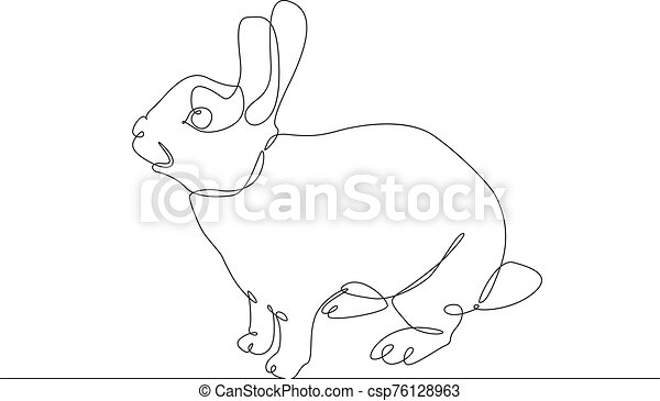 continuous line drawing rabbit hare - csp76128963