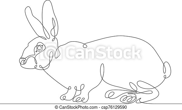 continuous line drawing rabbit hare - csp76129590