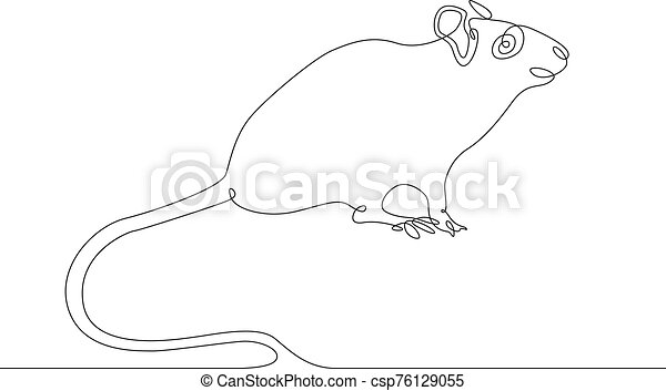 continuous line drawing rat mouse - csp76129055