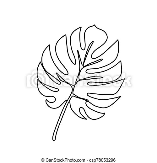 Continuous Line Monstera Leaf Tropical Leaves Contour Drawing One Line Outline Illustration Isolated On White Modern Canstock Bring some tropical shine to your home with this easy diy gold leaf art print. https www canstockphoto com continuous line monstera leaf tropical 78053296 html