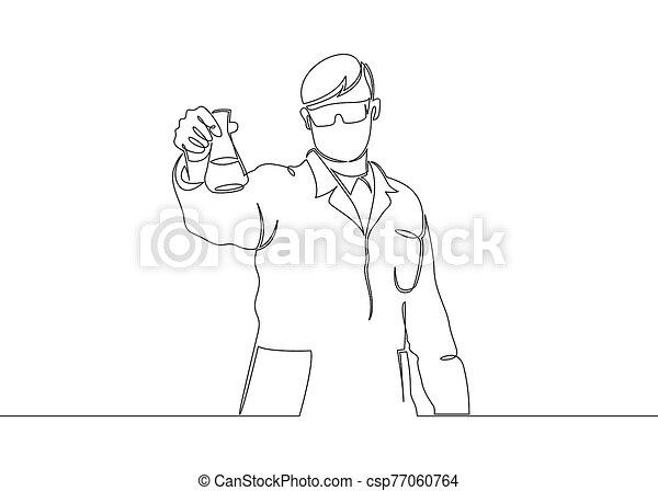 Continuous single drawn one line scientist researcher professor - csp77060764