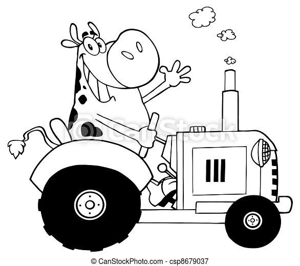 Delineado feliz granjero de vacas - csp8679037