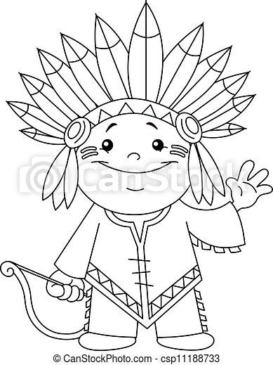 Contorneado, indio, niño. Page., contorneado, colorido, indio, kid.