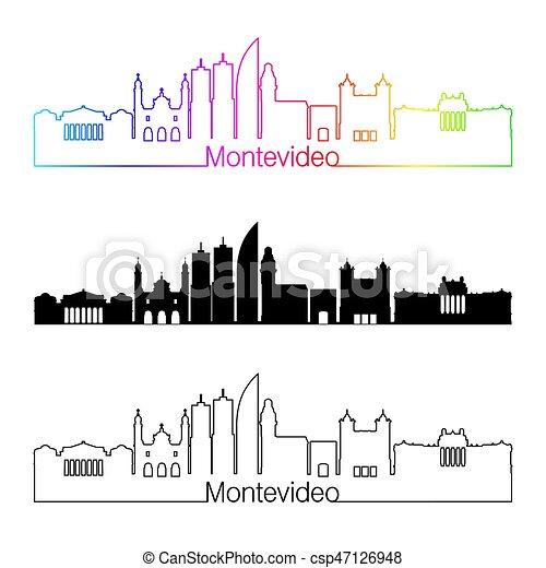 Estilo lineal Montevideo con arco iris - csp47126948