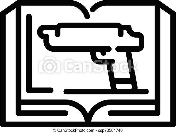 contorno, arma de fuego, estilo, icono, libro - csp78584740