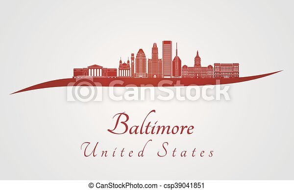 Baltimore Skyline en rojo - csp39041851