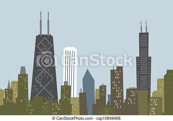 El horizonte de dibujos de Chicago - csp10849406
