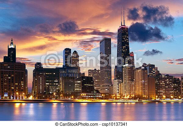 El horizonte de Chicago - csp10137341