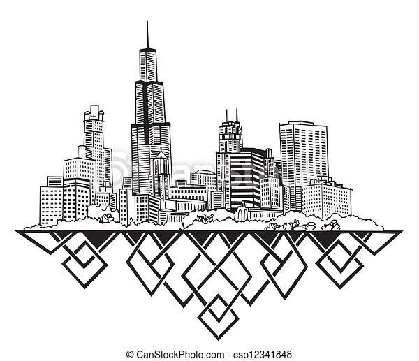 Chicago, IL skyline - csp12341848