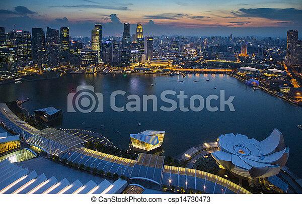 contorno, crepúsculo, topview, singapur - csp14730473