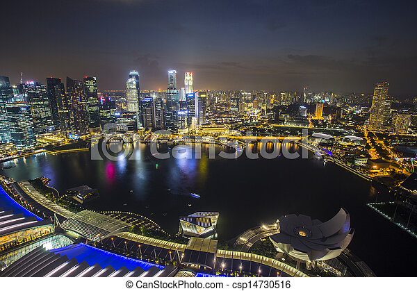 Singapur Skyline con Topview Twilight - csp14730516