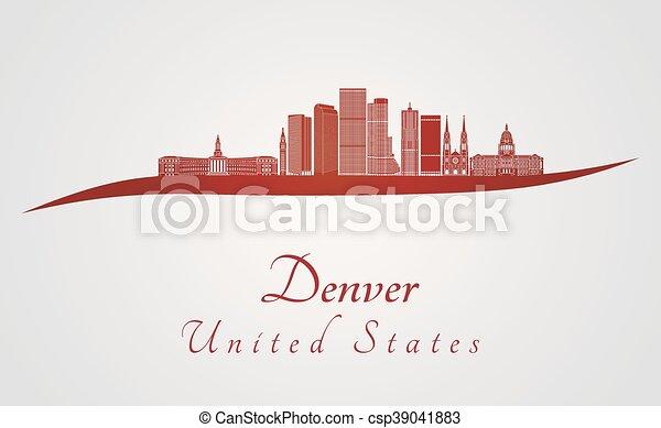 Skyline Denver en rojo - csp39041883