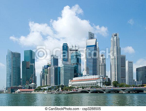 Línea aérea de Singapur, distrito financiero - csp3288505