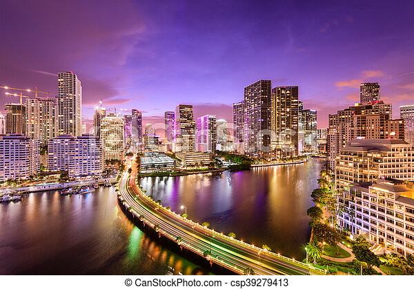 Miami, Florida Night Skyline - csp39279413