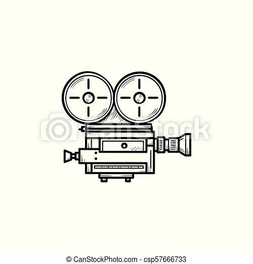 Retro Cámara De Vídeo Mano Dibujada De Esquema De Garabato