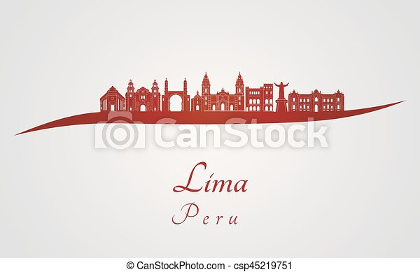 Lima skyline en rojo - csp45219751