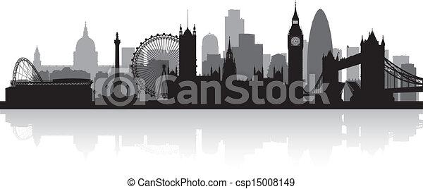 London City Skyline Silhouette - csp15008149
