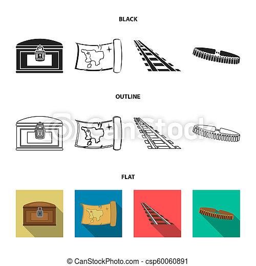 El mapa del tesoro, el pecho, los rieles, la patrulla. El salvaje oeste pone iconos de colección en negro, bemol, el símbolo de bitmap de la web de ilustración de acciones. - csp60060891