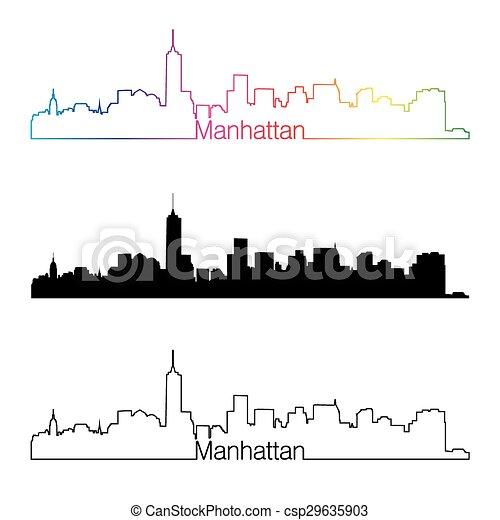 Estilo lineal de Manhattan con arcoiris.eps - csp29635903