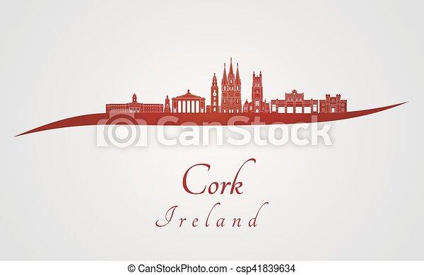 Skyline de corcho en rojo - csp41839634