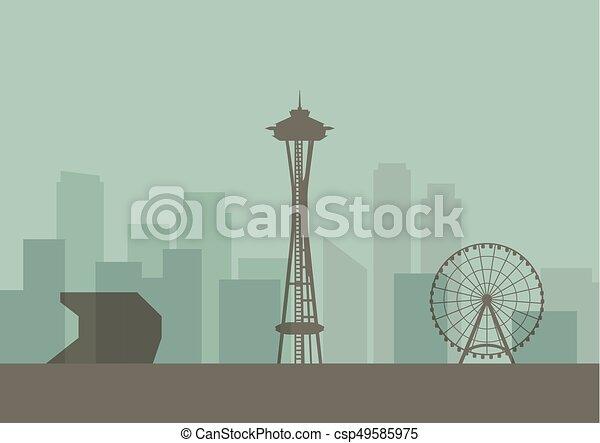 Silueta del horizonte de Seattle - csp49585975