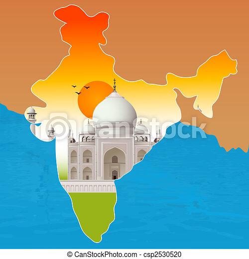 Taj Mahal, agra, mapa de la India - csp2530520